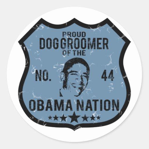 Nation d'Obama de Groomer de chien Autocollants Ronds