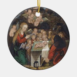 Nativité comportant des anges ornement rond en céramique