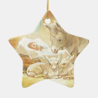 Nativité de Jésus de bébé avec les agneaux et Ornement Étoile En Céramique