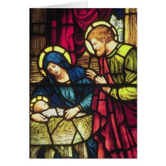 Nativité en verre souillé carte de vœux