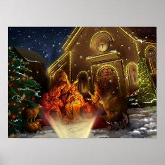 Nativité et église - la naissance du Christ Affiches
