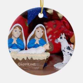 Nativité gaie/lesbienne : ornement de Noël 2-Sided