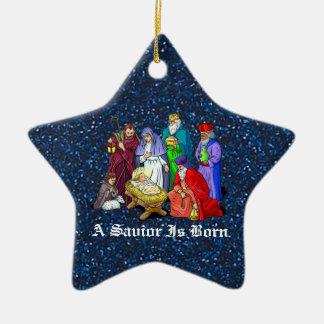 nativité ornement étoile en céramique
