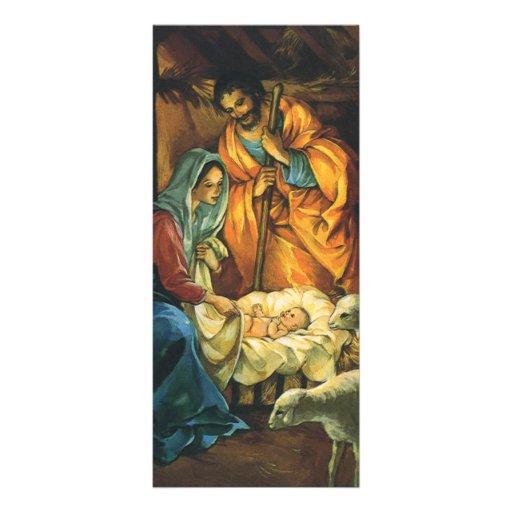 Nativité vintage de Noël, bébé Jésus dans Manger Carte Double Customisable
