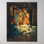 Nativité vintage de Noël, bébé Jésus dans Manger Affiches