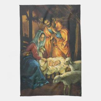 Nativité vintage de Noël, bébé Jésus dans Manger Serviette Éponge