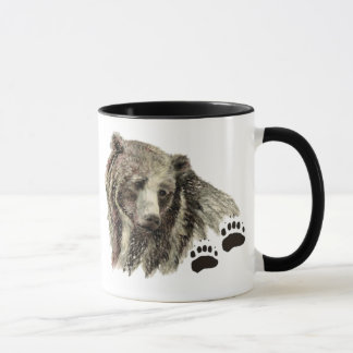 Nature animale d'ours gris original d'aquarelle mug