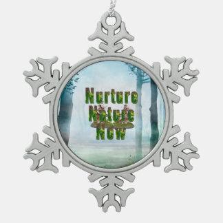 Nature de Nuture de PIÈCE EN T maintenant Ornement Flocon De Neige Pewter