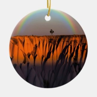 nature de paysage d'arcs-en-ciel ornement rond en céramique