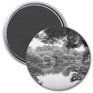 Nature et lac noirs et blancs, frais, uniques aimant