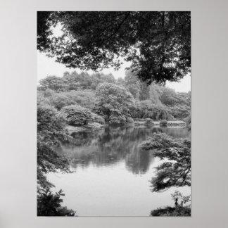 Nature et lac noirs et blancs, frais, uniques poster