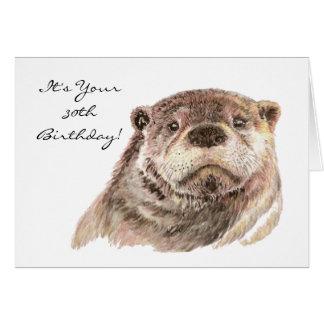 Nature mignonne de loutre de 30ème anniversaire carte de vœux