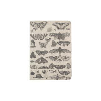 Nature vintage d'entomologie d'insectes protège-passeport