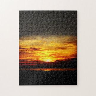 Natures meilleures - coucher du soleil de lac puzzle