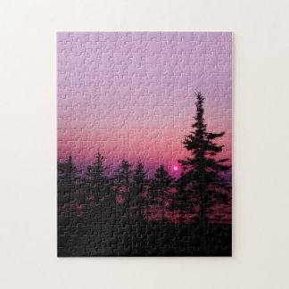 Natures meilleures - coucher du soleil de Waskesiu Puzzle
