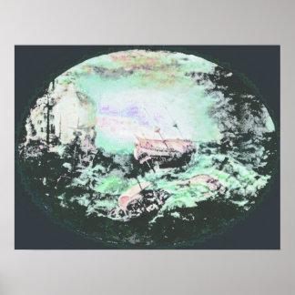 Naufrage outre d une côte rocheuse 2 poster