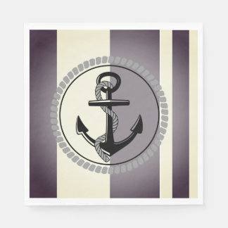 Nautical_Silvered-Fog--Stripe_Anchor_ Serviettes En Papier