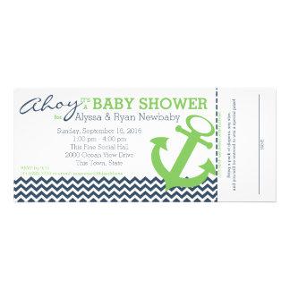Nautical Zigzag Anchor Baby Shower Personalized Invitation