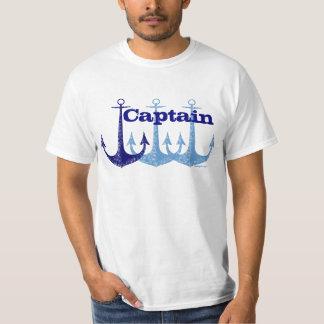 Nautique bleu de capitaine d'ancre personnalisé t-shirt
