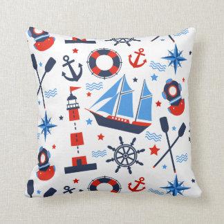 Nautique, mer, ancre, bateau, phare, coussin