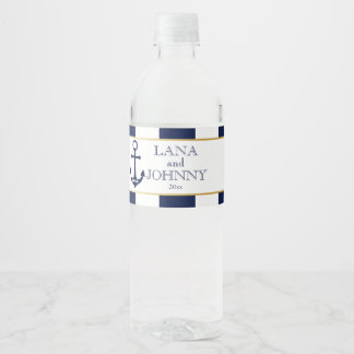 Nautique, or avec des rayures de marine étiquette pour bouteilles d'eau