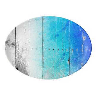 Nautique patiné en bois peint par bleu de bois de plateau de service en porcelaine