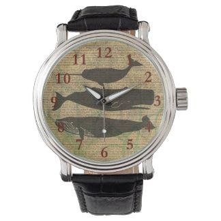 Nautique rustique de décor vintage de baleine montres cadran