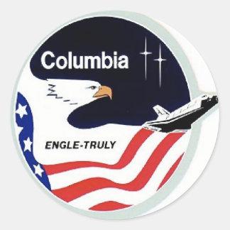 navette spatiale de Colombie Autocollant Rond