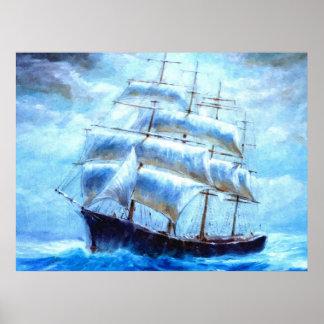 Navigation de voilier en mer posters