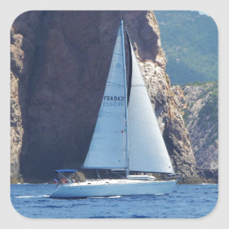 Navigation le long de la côte de la Sardaigne Sticker Carré