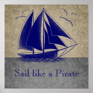 Naviguez comme un pirate, garçon nautique, cru per poster
