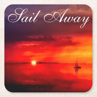 Naviguez dans le coucher du soleil dessous-de-verre carré en papier