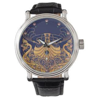 Navire antique, dauphins, or, bleu marine nautique montres bracelet