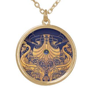 Navire antique, dauphins, or, bleu marine nautique pendentif rond
