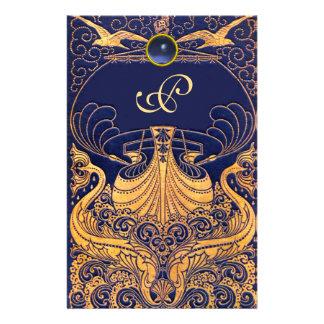 Navire antique, dauphins, or, monogramme de bleu papeterie