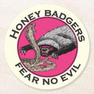 Ne craignez aucune conception animale rose drôle dessous-de-verre rond en papier