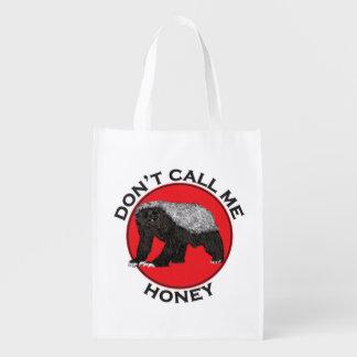Ne m'appelez pas miel, art féministe rouge de sac réutilisable