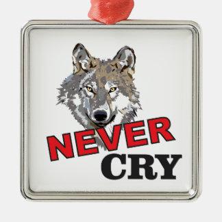 ne pleurent jamais le loup ornement carré argenté