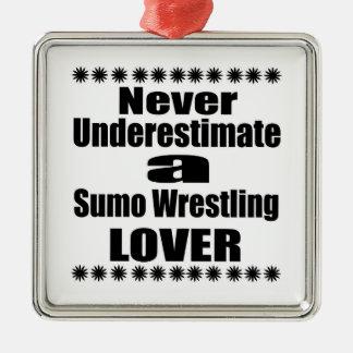 Ne sous-estimez jamais l'amant de lutte de sumo ornement carré argenté