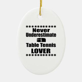 Ne sous-estimez jamais l'amant de ping-pong ornement ovale en céramique