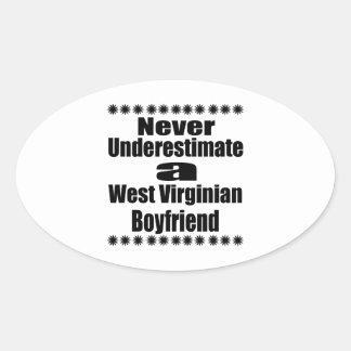 Ne sous-estimez jamais l'ami de Virginian Sticker Ovale