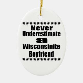 Ne sous-estimez jamais l'ami de Wisconsinite Ornement Ovale En Céramique