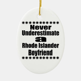 Ne sous-estimez jamais l'ami d'insulaire de Rhode Ornement Ovale En Céramique