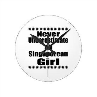 Ne sous-estimez jamais une amie singapourienne horloge ronde