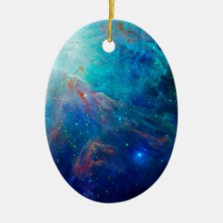 Nébuleuse d'Orion miroitant la NASA bleue Ornement Ovale En Céramique