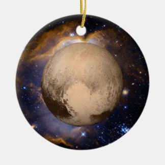Nébuleuse et étoiles de galaxie de coeur de Pluton Ornement Rond En Céramique