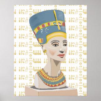 Nefertiti et arrière - plan carrelé de cartouche posters