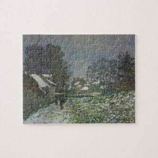 Neige à Argenteuil par Claude Monet, art vintage Puzzle