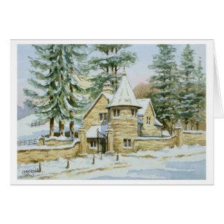 Neige à la porte de loge de Stowell Carte De Vœux
