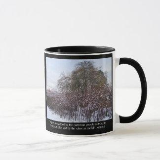 Neige, bambou et arbres avec la citation de mug